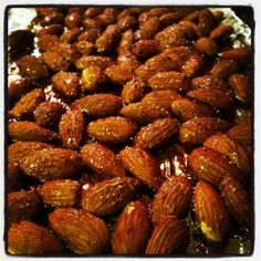 Toasted Almonds drizzled with Log Cabin Syrup hot outta the Oven! Here's the simple recipe!