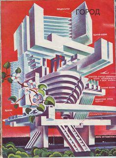 Futuristic Soviet Architecture (what even is this) Industrial Artwork, Russian Constructivism, Soviet Art, Futuristic Architecture, Monumental Architecture, Science Fiction Art, Googie, Retro Futurism, Sci Fi Art