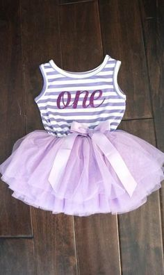 First or Second Birthday Tutu Dress for Baby Girl In Purple and White Stripes With Glitter Purple Number One or Number Two