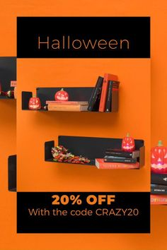 Halloween Sales and Deals at TEEbooks ! 20% OFF with the code CRAZY20 on a wide selection of bookcases, wall shelves, floating shelves for books, CDs, DVDs, plants, decorative objects...