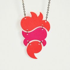 totem necklace  coral & fuchsia by MaryGallimoreStudio on Etsy, $25.00