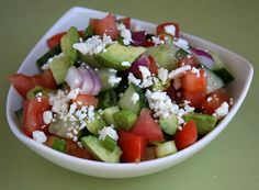 Avocado, Cucumber & Tomato Salad from Recipe Girl - Weight Watchers 5 points. This is what a salad looks like in kosovo New Recipes, Cooking Recipes, Favorite Recipes, Healthy Recipes, Greek Recipes, Healthy Foods, Cucumber Avocado Salad, Feta Salad, Onion Salad