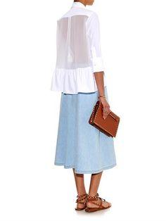Valentino Cotton-poplin and silk-georgette shirt