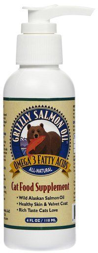 Grizzly Salmon Oil Omega 3 Cat Food Supplement Healthy Skin Coat Heart - 4 oz