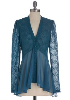 Candle-lit Major Cardigan - Mid-length, Blue, Solid, Lace, Long Sleeve