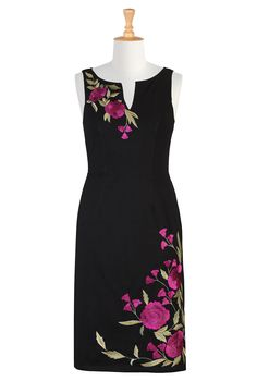 Floral Embellished Sheath Dresses, Black And Red Holiday Dresses Shop women's designer fashion - A-line dress - Shop for A-line dresses Embroidery Fashion, Embroidery Dress, Gold Embroidery, Red Holiday Dress, Holiday Dresses, Casual Dresses, Fashion Dresses, Dress Painting, Top Wedding Dresses