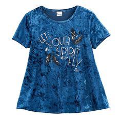 Girls 7-16 & Plus Size Mudd® Foil Print Velvet Swing Tee, Size: 16 1/2, Med Blue