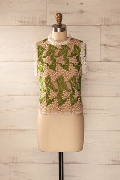 Marioupol - Pink and green floral embroidered cami