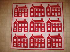 Red and white house quilt