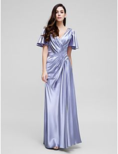TS+Couture®+Formal+Evening+Dress+Sheath+/+Column+V-neck+Court+Train+Stretch+Satin+with+Side+Draping+/+Criss+Cross+–+USD+$+345.00