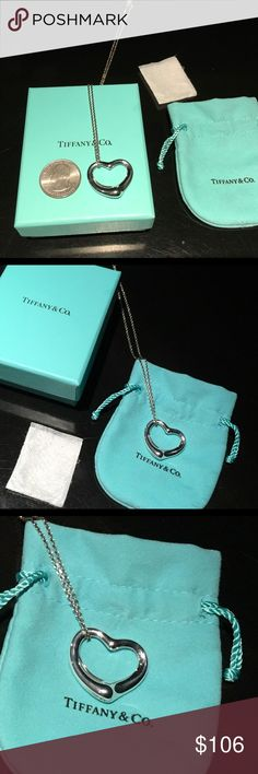 T&Co. Elsa Peretti Open Heart Pend/Necklace (27mm) Brand New - NEVER worn - in Bag AND Box!  Tiffany & Co. SS Open Heart Pendant and Chain - made in Spain (stamped on chain connector, as is .925 for the Sterling Silver).  Pendant is 27mm.  Chain is 18in.  Last pic is so there is no confusion - this item is indeed from MY closet. Tiffany & Co. Jewelry Necklaces