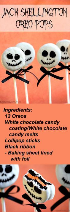 RECIPE: Jack Skellington Oreo Pops.  Wow!  How perfect are these for a Halloween with Tim Burton?