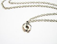 Baby feet Necklace - Baby shower Gift in Silver by RobertaValle on Etsy