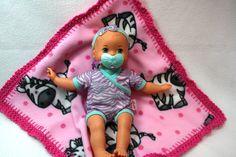 Pink Zebra 16x16 Crochet Edge Fleece Baby by MonaSewingTreasures