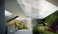 Vista desde el acceso principal. Se optó por muros verdes diseñados teniendo en cuenta el color y la textura de la vegetación.