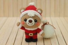 クリスマスなこぐまたち|Needle felted teddy bears for Christmas