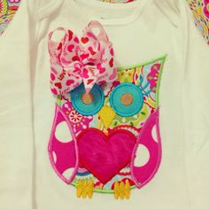 Owl applique shirt for Valentine's day with attached hair bow!