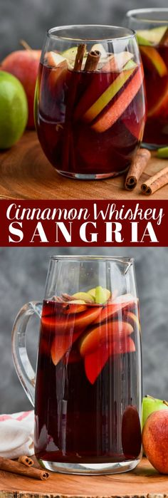 This Cinnamon Whiskey Sangria is only four ingredients and delicious all year round. It is a particularly amazing spin on my red sangria recipe, perfect for a ladies' night and even better for holiday get togethers. This is such an easy sangria recipe! Thanksgiving Sangria, Red Wine Sangria, Berry Sangria, Christmas Sangria, Holiday Drinks, Sangria Mix, Fall Sangria, Holiday Meals, Christmas Recipes