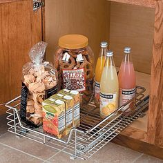 "1-Tier Slide-Out Organizer 14-1/2""Wx17-3/4""Dx6-3/8""T - Improvements by Improvements. $39.95. Commercial-quality, heavy-gauge, Slide-Out Organizers give you easy access to groceries, pots, even small appliances stored deep inside cabinets or pantries. Make your kichen or utility room much more efficient and functional by adding these sliding shelves to your cabinets. The heavy, chrome-plated steel organizer mounts on a pantry shelf or base cabinet floor, then sl..."
