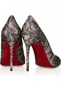 Black Lace pumps red bottom