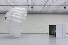 Carsten Nicolai'sinstallation 'pionier l' consists of a parachute inflated by a wind-machine, creating an ephemere situation of interaction...