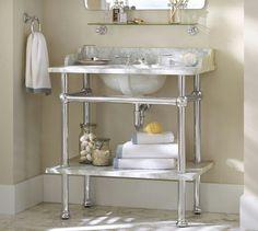 Metal Leg Sink Single Vanity Bathroom Vanities Storage