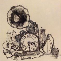 Some vintage objects; black ink pen
