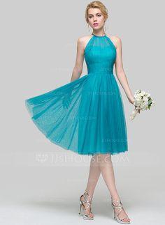 [US$ 119.99] A-Lijn/Prinses Ronde Hals Knie-Lengte Tule Bruidsmeisjes Jurk met Roes (007094161)