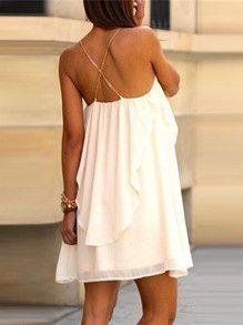 white dress, slip spaghetti strap dress, white ruffle dress, backless white dress - Crystalline