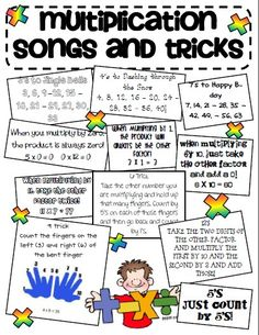 "Multiplication songs teaching-classroom-ideas If a student struggles this is a good trick. Wouldn't use this at first though, I want them to understand multiplication not the ""cheat"" Teaching Tips, Teaching Math, Math Resources, Math Activities, Multiplication Songs, Math Songs, Math Fractions, Anchor Charts, Third Grade Math"