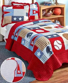 Sports Collage Sports Collage Quilt and Sham Set - Twin Size ... : twin sports quilt - Adamdwight.com