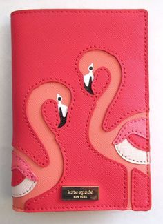 KATE SPADE Take a Walk on the Wild Side PASSPORT COVER ~ FLAMINGO Imogene ~ NWT #katespade