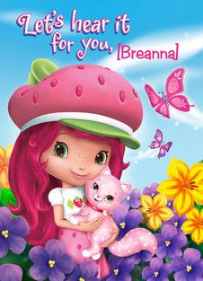 A Berry Big Hooray Strawberry Shortcake Birthday Party invitation with Custard the cat!