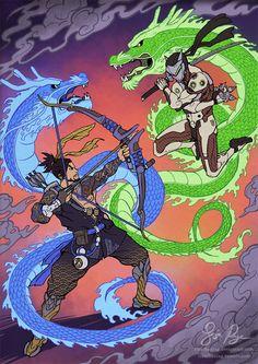 Blizzard,Blizzard Entertainment,фэндомы,Hanzo,Overwatch,Genji (Overwatch),Overwatch art,Risachantag,Lisa Rye,artist