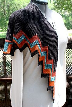 fascinating use of knit and purl stitches and cast on/bind off. Ravelry: Zuni Shawl pattern by Danielle Chalson