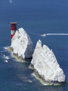 Aerial View of the Needles Rocks and Lighthouse, Isle of Wight, England, United Kingdom