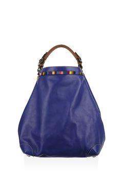 Large Blue Calf Leather Cubo Top Handle Bag by Caroline de Marchi for Preorder on Moda Operandi