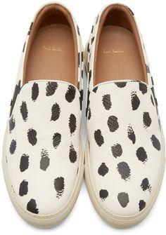 White & Black Painted Dot Slip-On Sneakers
