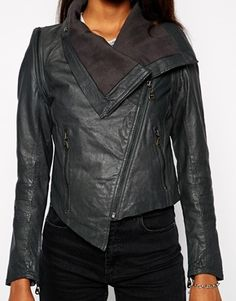 Enlarge Doma Leather Jacket with Diagonal Zip and Oversized Collar