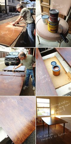 good tutorial for refinishing a dining table - I need this for our dining room table.