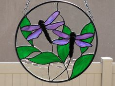 Stained Glass Irridized Dragonfly and Leaf Suncatcher by FoxStainedGlass