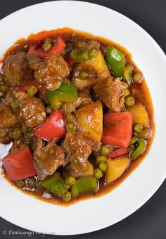 Pork mechado is a Filipino pork stew. This particular recipe is composed of pork slices, potato, frozen green peas, and bell peppers. Menudo Recipe, Pork Hamonado Recipe, Pork Recipes, Asian Recipes, Cooking Recipes, Vegetarian Recipes, Pilipino Food Recipe, Pork Stew, Meat Recipes