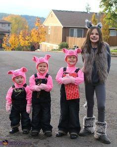 Three Little Pigs and Big Bad Wolf - Halloween Costume Idea for Kids #halloweencostumekids