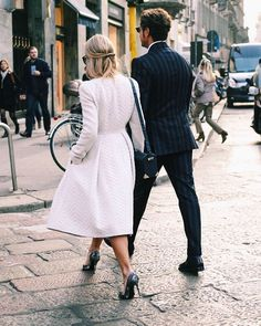 couple style - white coat dress and navy suit