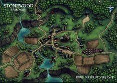 OC] Stonewood Village Map : DnD Fantasy city map Fantasy world map Village map