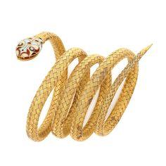 Antique Gold, Enamel and Diamond Mesh Coiled Serpent Bracelet