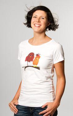 Faires Shirt auf Biobaumwolle mit Piep & Matz Print, fairgehandelt www.printeshop.de