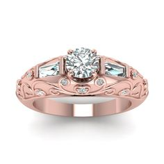 Adorned Florid Round Cut diamond Vintage Engagement Rings with Diamonds in 14K Rose Gold exclusively styled by Fascinating Diamonds