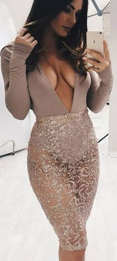 #summer #ohpolly #outfits | Nude Bodysuit + Gold Lace Midi Skirt