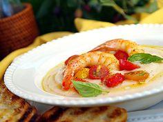 Recipe Cannellini Cream Soup with Fresh Tomatoes, Scampi, and Basil - Barilla